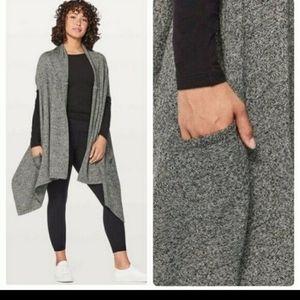 Lululemon 100% merino wool live freely wrap in gray.
